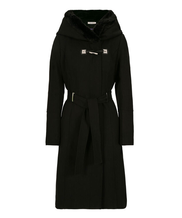 Hooded Faux-Fur Trim Coat, Black, hi-res