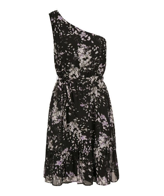 One Shoulder Chiffon Dress, Black Print, hi-res