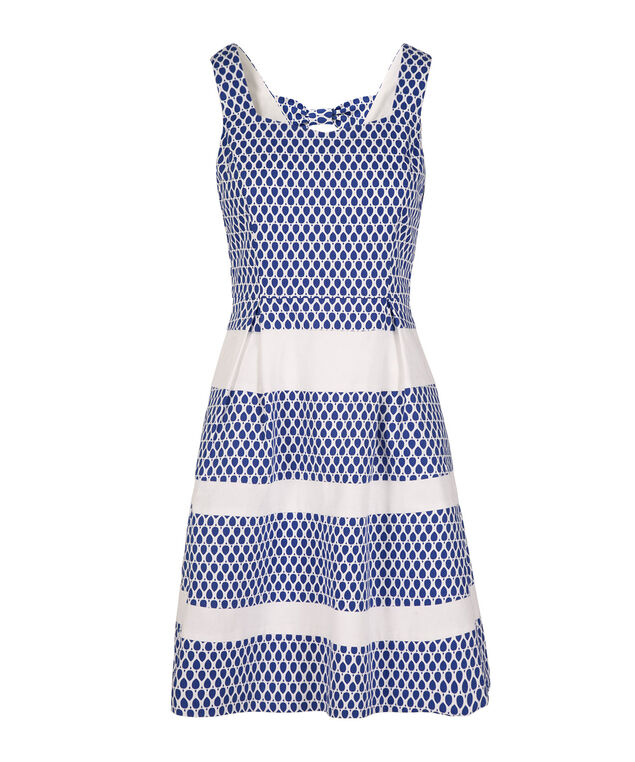 Sleeveless Bow Detail Dress, White/Blue Print, hi-res