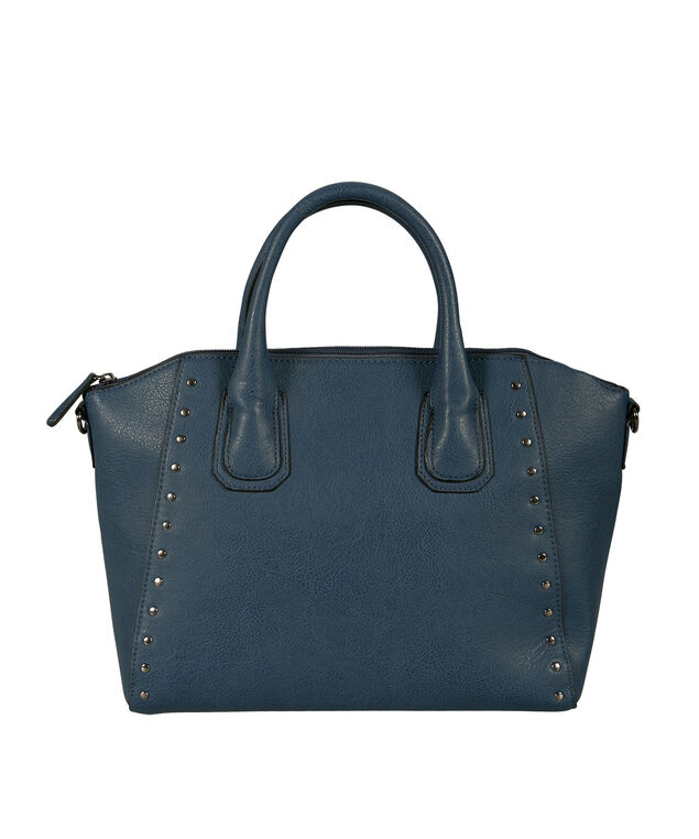 Studded Trapezoid Satchel Bag, Deep Teal, hi-res