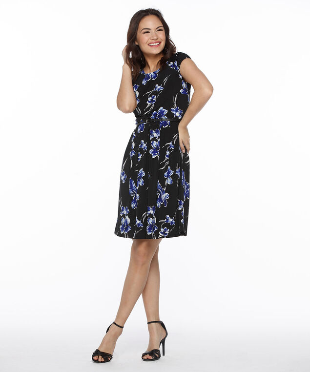 Floral Puff Print Dress, Black/Blue Print, hi-res