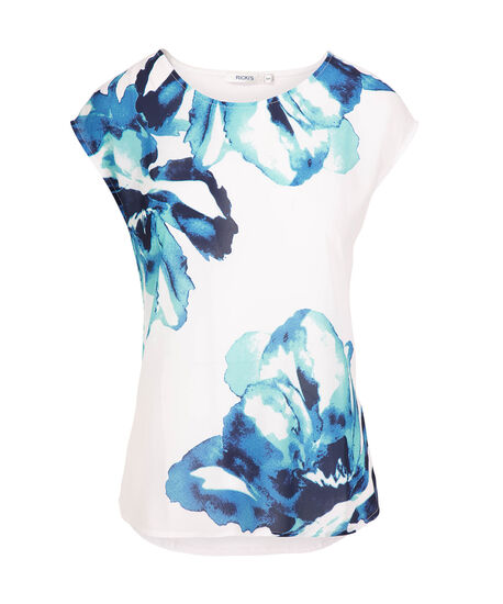 Extended Sleeve Mixed Media Top, White/Blue Print, hi-res