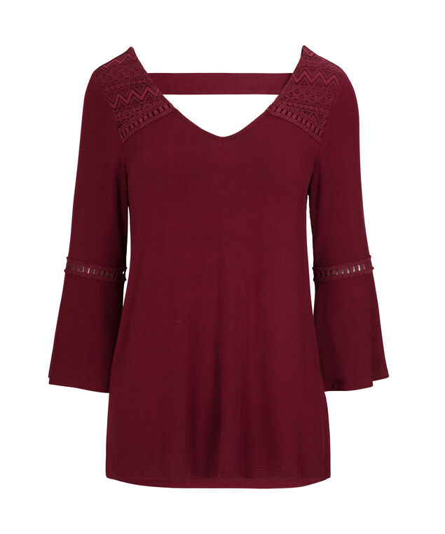 Crochet Trim Peasant Top, Ruby, hi-res
