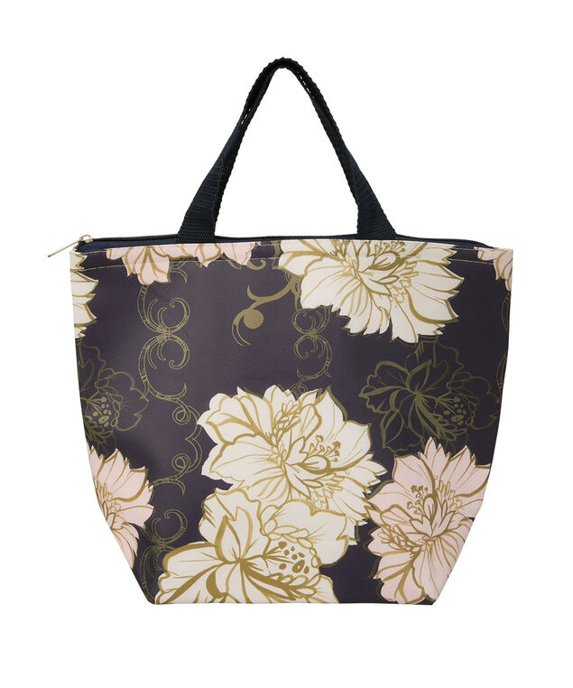 FLORAL PRINT INSULATED LUNCH TOTE, Navy/Pink, hi-res