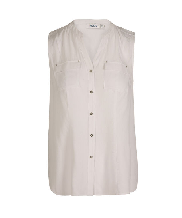 Sleeveless Button Front Henley Blouse, True White, hi-res