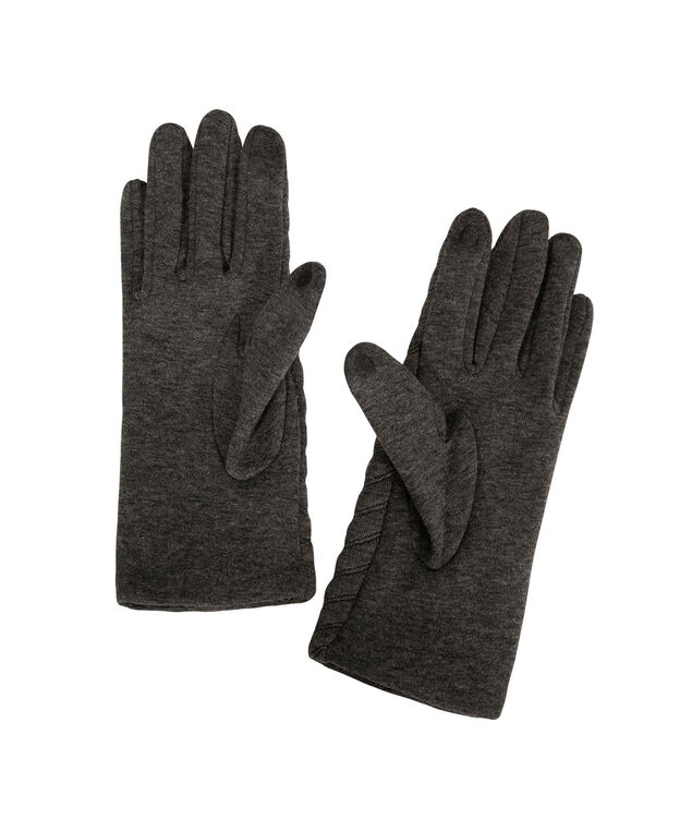 Quilted Chevron Texting Glove, Charcoal, hi-res