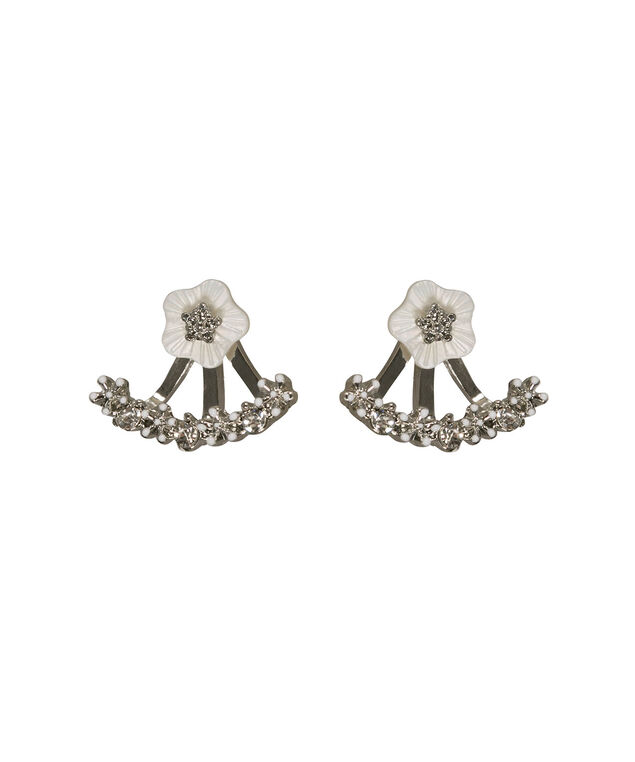 Crystal Floral Front/Back Earring, White/Rhodium, hi-res