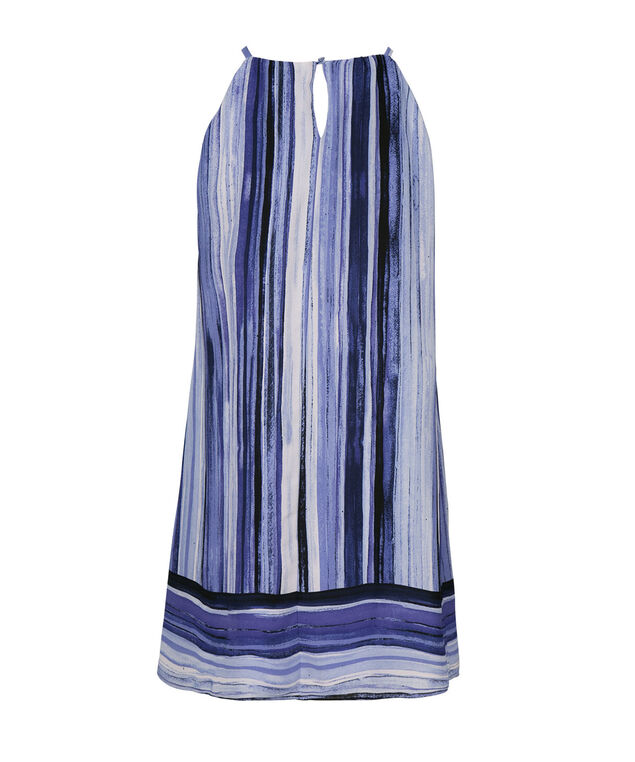 Blurred Stripe Trapeze Dress, Blue Stripe, hi-res