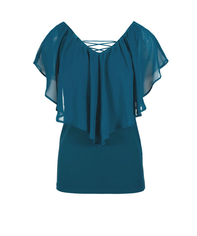 Chiffon Ruffle Overlay V-Neck Top, Midnight Teal, hi-res