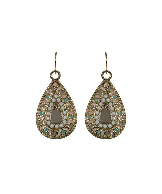 Painted Filigree Teardrop Earring, Iced Blue/Iced Peach/Soft Gold, hi-res