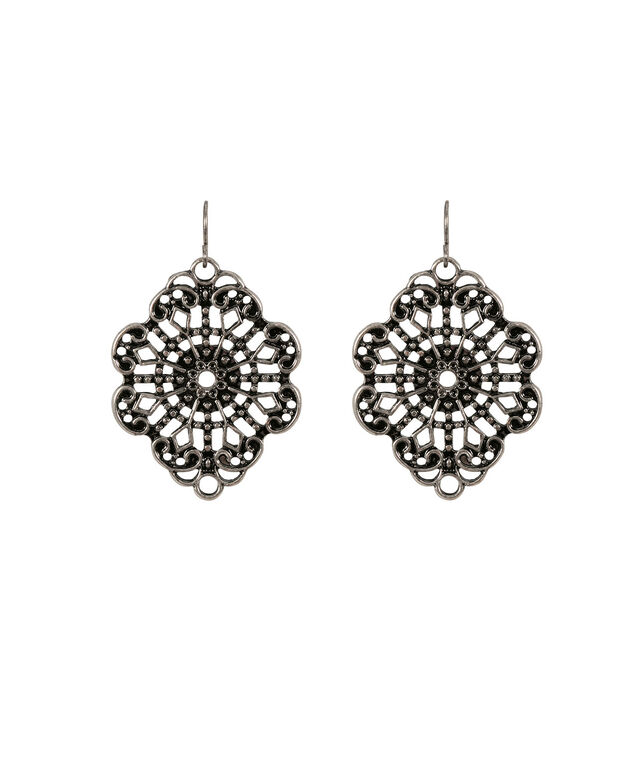 Cutout Earring , Burnished Silver, hi-res