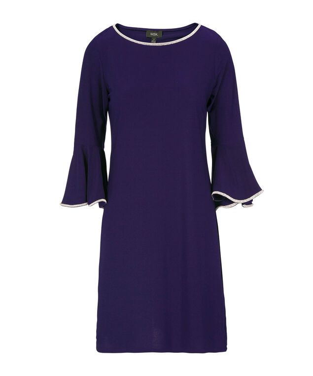 Jewelled Flounce Sleeve Trapeze Dress, Deep Sapphire, hi-res