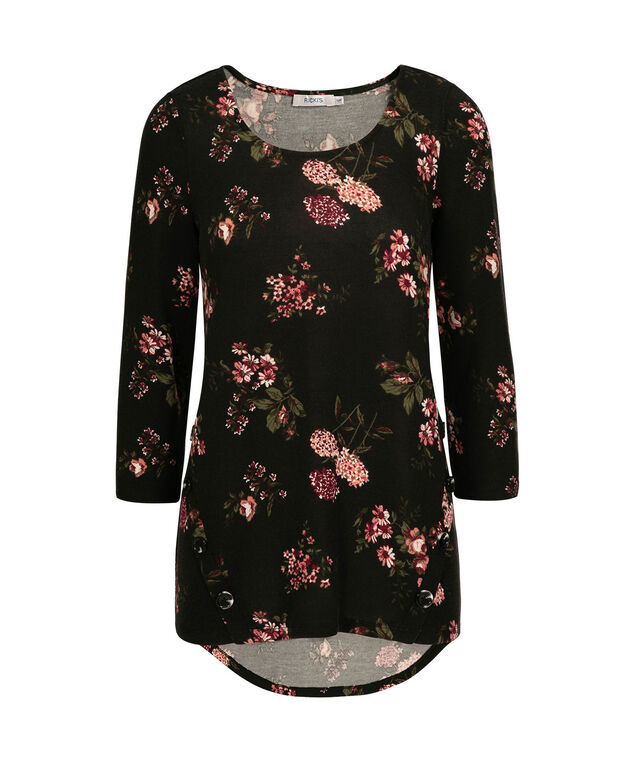 Button-Trim Pullover Top, Black/Ruby/Milkshake Print, hi-res