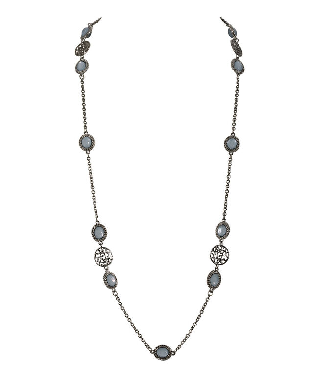 Filigree Stationed Circle Necklace, Icy Blue/Hematite, hi-res