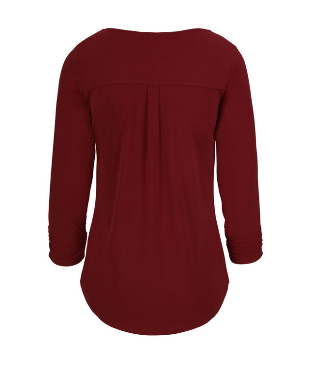 3/4 Sleeve V-Neck, Cranberry, hi-res