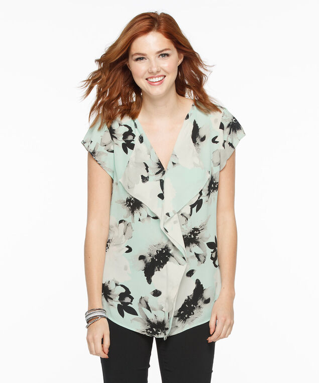 Short Sleeve Ruffle Front Blouse, Mint Floral, hi-res