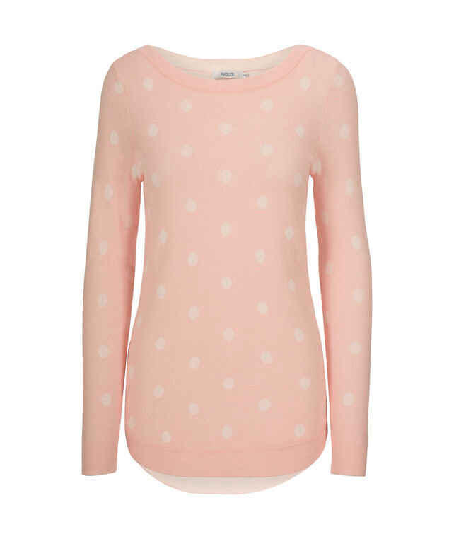 Dot Pullover Sweater, Misty Pink/White, hi-res