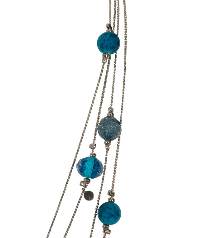 Multi-Row Stationed Bead Necklace, Blue/Aqua/Rhodium, hi-res