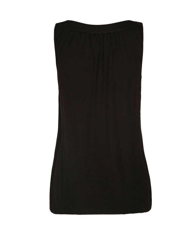 Sleeveless Gathered Neck Knit Tank, Black, hi-res