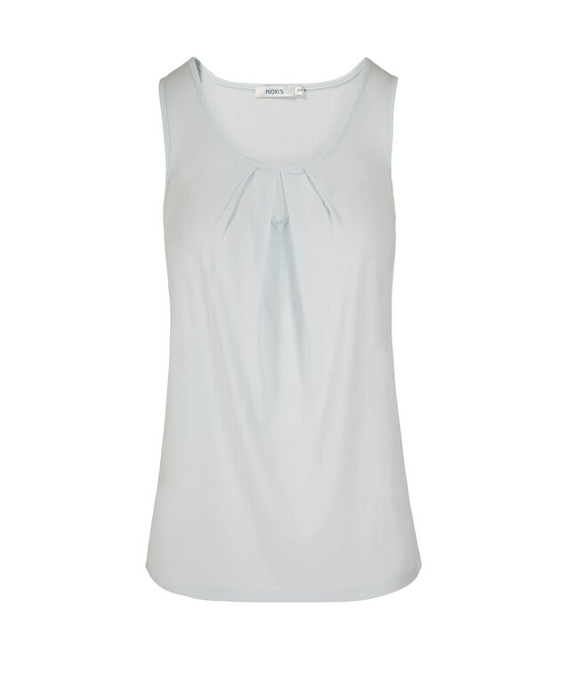 Sleeveless Pleated Keyhole Top, Frosted Blue, hi-res