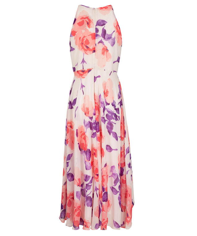 Cross-Over Halter Maxi Dress, White/Strawberry Daiquiri/Purple Print, hi-res