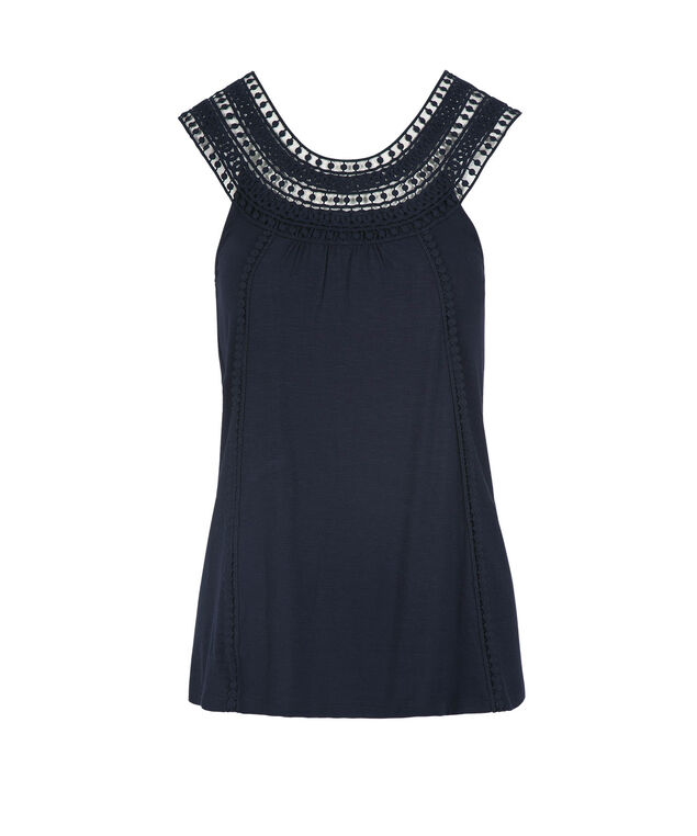 Sleeveless Crochet Trim Top, Summer Navy, hi-res