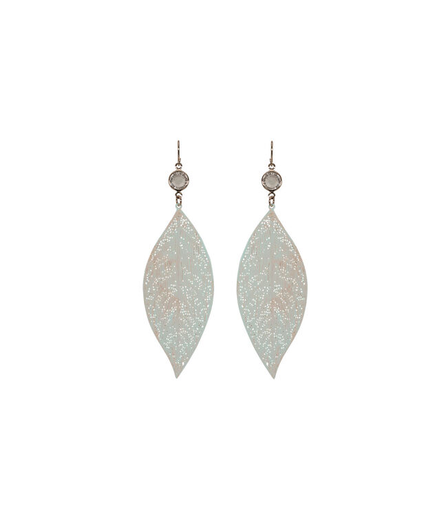 Painted Metal Leaf Earring, Pale Pink/Rose Gold, hi-res
