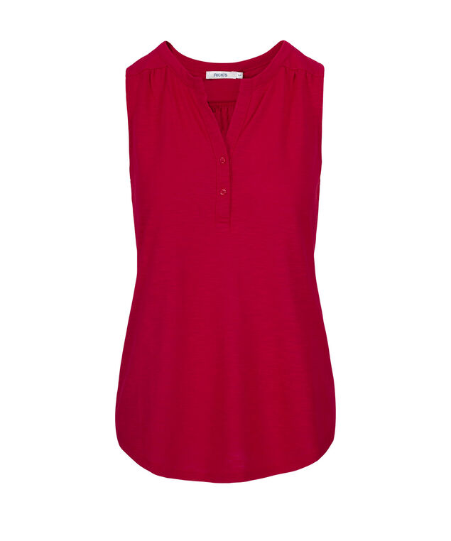 SLEEVELESS HENLEY TOP, Red, hi-res