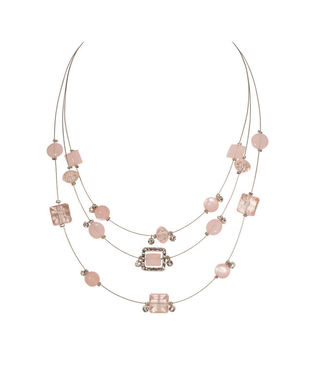 Stationed Crystal & Pink Bead Necklace, Apricot/Rhodium, hi-res