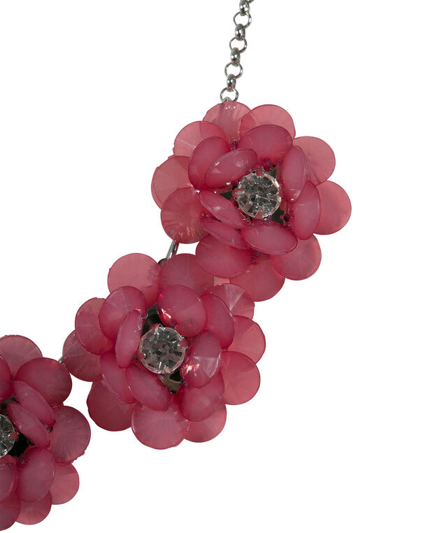 Floral Statement Necklace, Hot Pink/Rhodium, hi-res