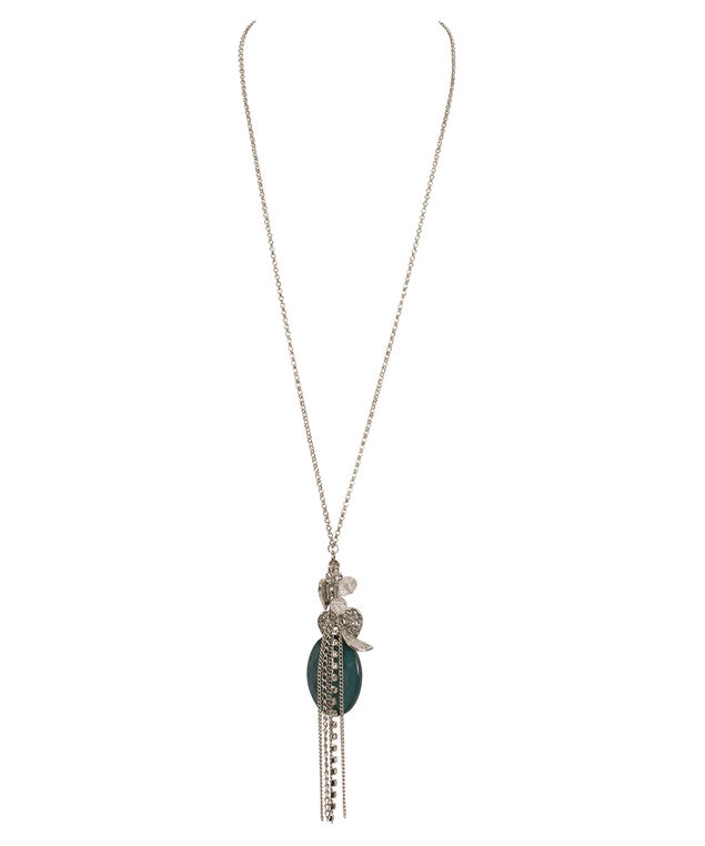Teal Stone Cluster Pendant Necklace, Teal/Rhodium, hi-res