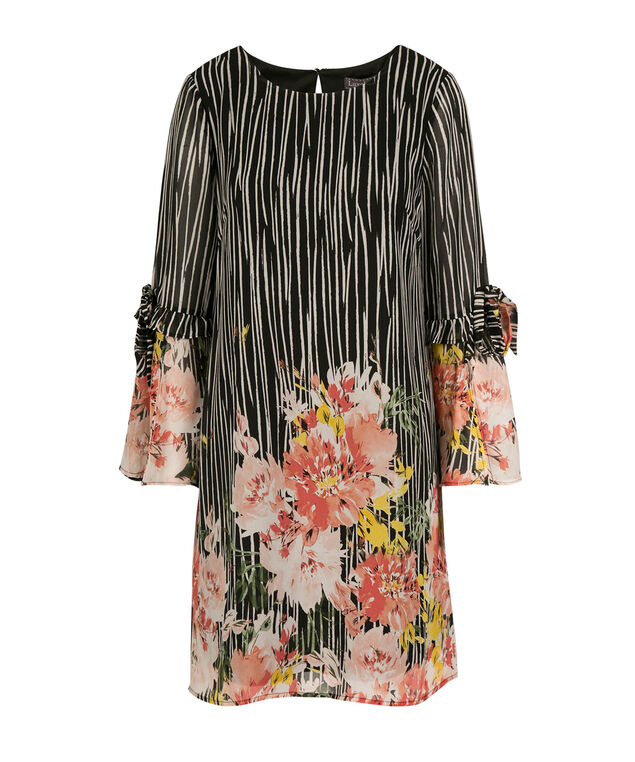 Bell Sleeve Trapeze Dress, Black/Blush, hi-res