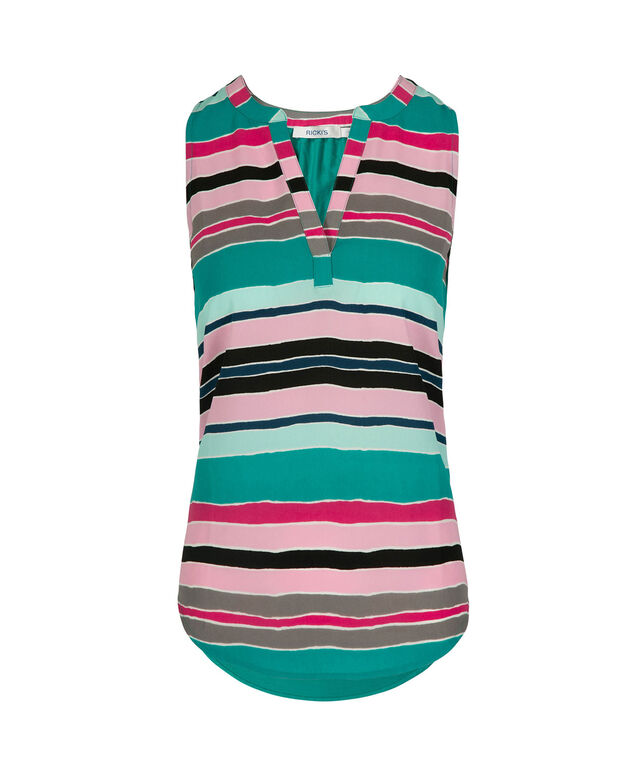 Sleeveless Henley Top, Multi-Stripe, hi-res