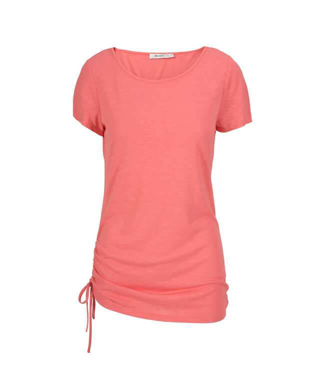 Side-Tie Long Tee, Bright Coral, hi-res