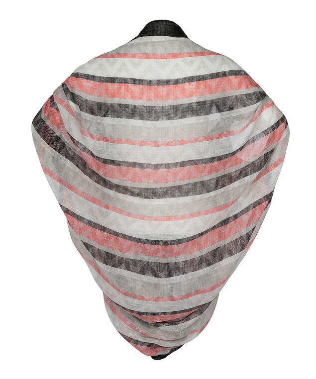Striped Cocoon Cover-Up, Coral/Black/White, hi-res