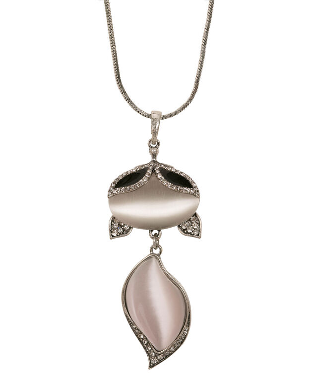 Cateye Stone Fox Pendant Necklace, Black/Blush/Burnished Silver, hi-res