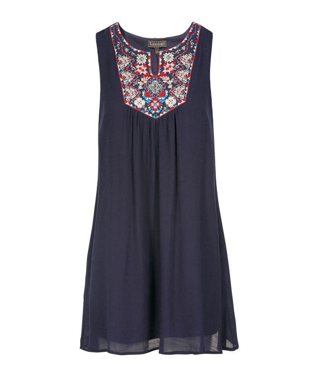 Embroidered Trapeze Dress, Summer Navy, hi-res