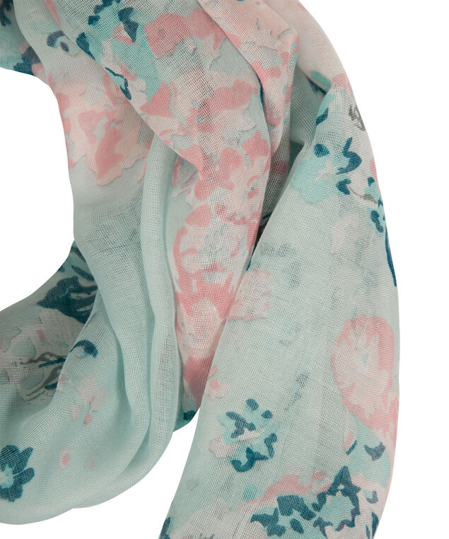 Floral Border Print Eternity Scarf, Rosewater/Pink/Spearmint, hi-res