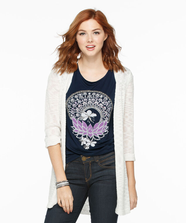 Extended Sleeve Tribal Floral Print Top, Navy, hi-res