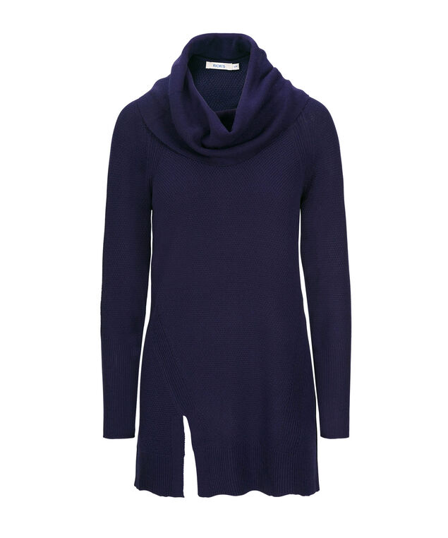 Cowl Neck Pullover Sweater, Deep Sapphire, hi-res