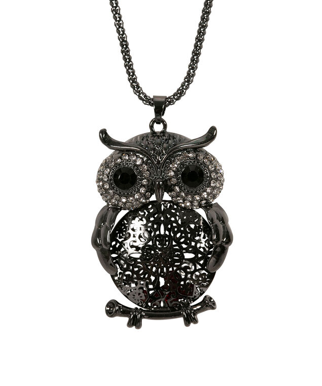 Filigree Owl Pendant Necklace, Ruby/Hematite/Clear, hi-res