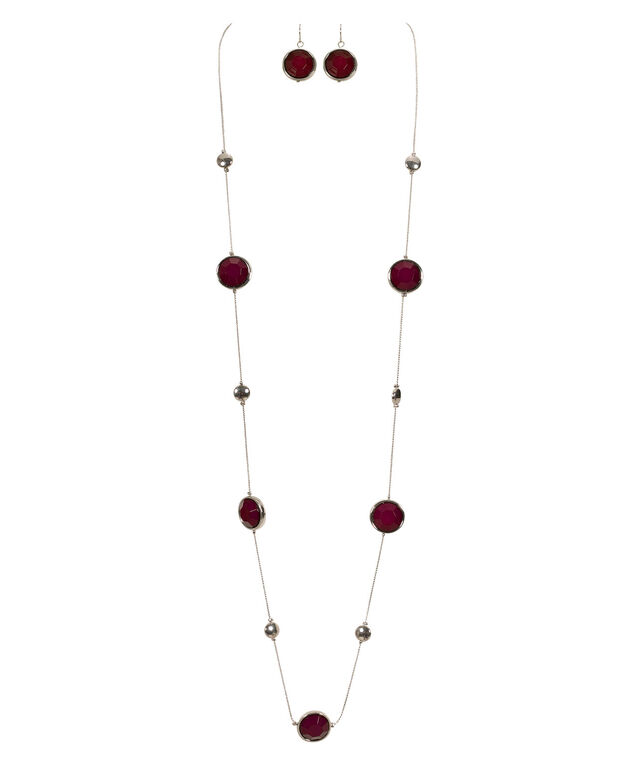 Stationed Faceted Bead Necklace Set, Port/Rhodium, hi-res