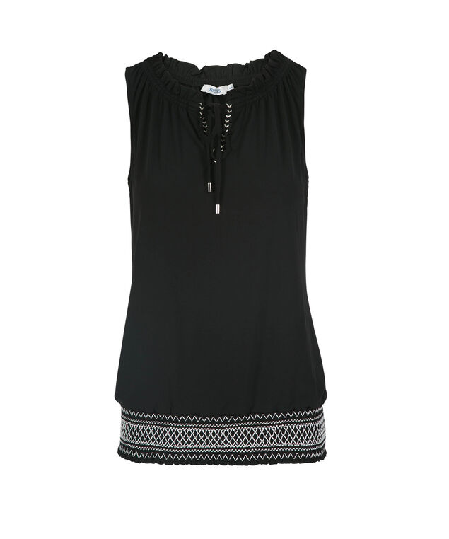 Sleeveless Smocked Hem Top, Black, hi-res