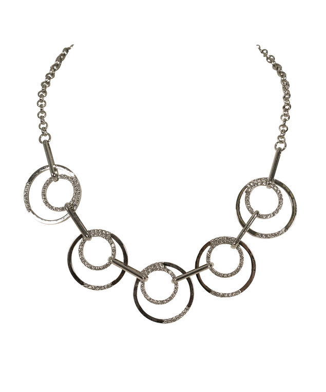 Crystal O-Ring Statement Necklace, Clear/Rhodium, hi-res