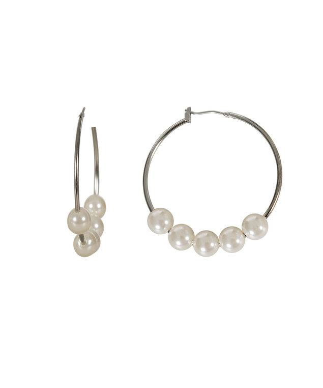 Pearl Hoop Earrings, White/Rhodium, hi-res
