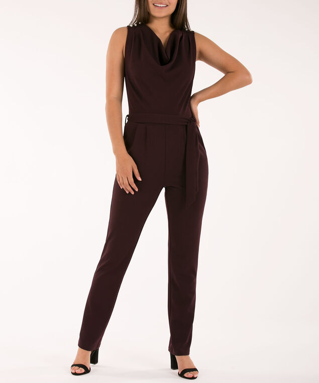 Pearl Detail Cowl Neck Jumpsuit, Port, hi-res