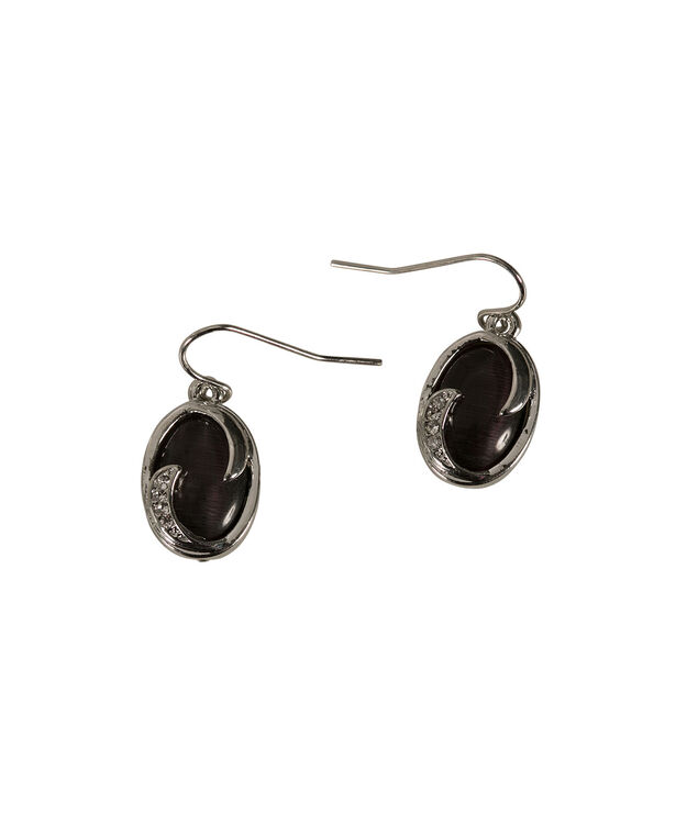 Oval Cateye Earring, Blackberry/Rhodium, hi-res