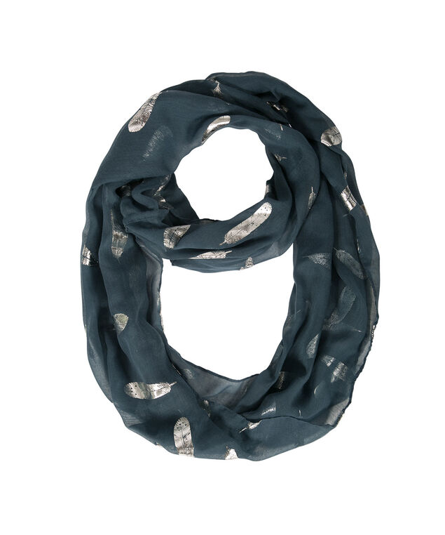 FOILED FEATHER ETERNITY SCARF, Deep Teal/Silver, hi-res