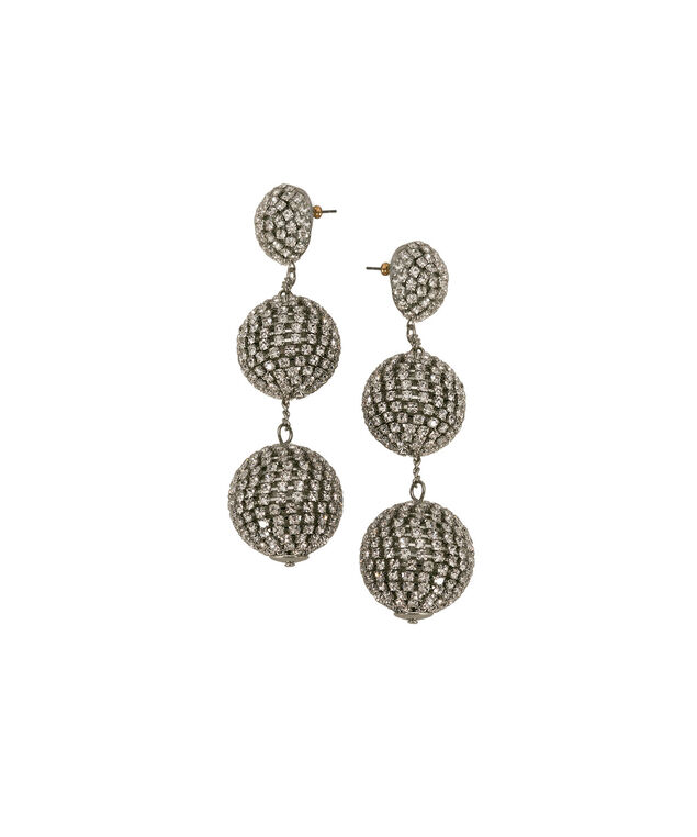 Crystal Ball Drop Earring, Clear/Rhodium, hi-res