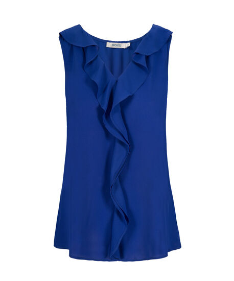 Ruffle Front Blouse Tank, Ultra Blue, hi-res